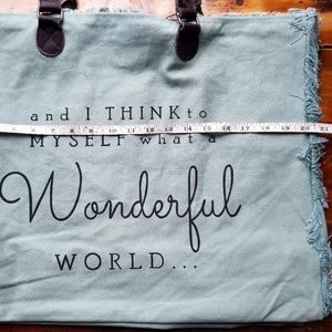 """Bags - """"Wonderful World"""" Recycled Canvas Lined Totebag"""